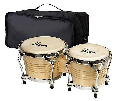 Bongos Latin Hand Drum Percussion Gigbag Black Hardware Natural Professional Set