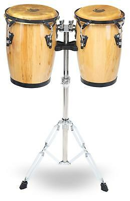 "9"" And 10"" Natural Wooden Conga Set Percussion Hand Drum Set Double Braced Stand"