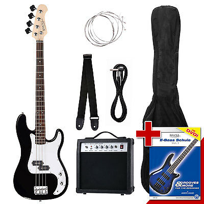 Full Electric Bass Guitar Starter Package Amplifier Strap Cable Gigbag Strings
