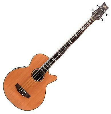 Classic Cantabile 4-String Electro Acoustic Bass Guitar Natural Wood Preamp Eq