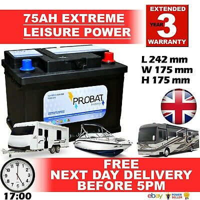 75 ah amp Leisure Battery DEEP CYCLE Low Height maintenance free sealed 85 80 £