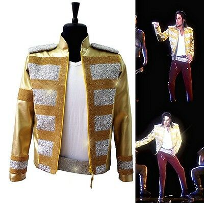 New Michael Jackson Crystal Punk Rock Style Jackets MJ Gold Rhythm Costumes