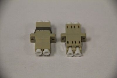 2 x Fiber Optic Adapter LC-LC MM DUP Multimode Duplex Coupler 50/125 Beige NEW