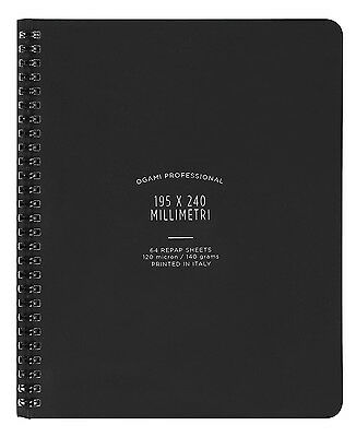 """Ogami Stone Paper Spiral Bound 8x10"""" Lined Notebook BLACK"""