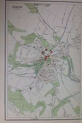 Buxton Derbyshire - Antique Map c1898 Bartholomew Royal Atlas Of England & Wales