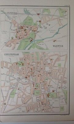Cheltenham Warwick Antique Map c1898 Bartholomew Royal Atlas Of England & Wales