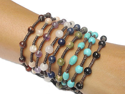 Handcrafted Turquoise BEAD Gemstone Fair Trade Jewelry Thai Wristband Bracelet