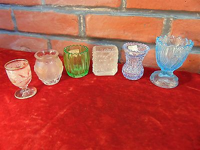 ESTATE COLLECTION LOT 6 Glass ANTIQUE & VINTAGE TOOTHPICK HOLDERS/EGG CUPS