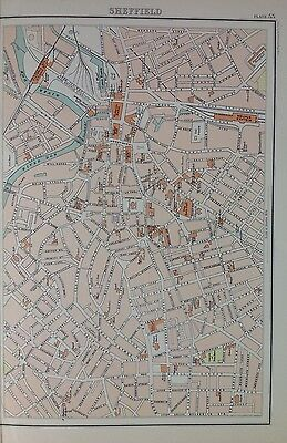 Sheffield  - Antique Map c1898 Bartholomew Royal Atlas Of England & Wales