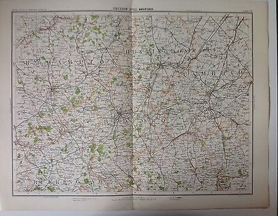 Bedford Huntingdon  Antique Map c1898 Bartholomew Royal Atlas Of England & Wales