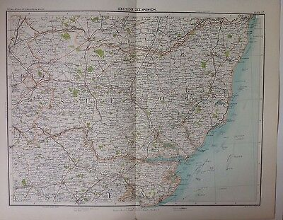 Ipswich  - Antique Map c1898 Bartholomew Royal Atlas Of England & Wales Suffolk