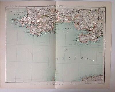 Pembroke Antique Map c1898 Bartholomew Royal Atlas Of England & Wales Carmarthen