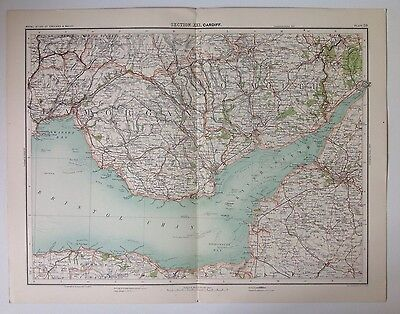 Cardiff River Severn Antique Map c1898 Bartholomew Royal Atlas England & Wales