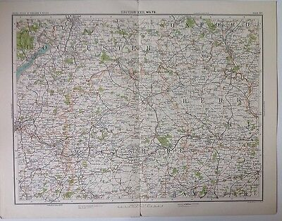 Wiltshire Antique Map c1898 Bartholomew Royal Atlas Of England & Wales Bristol