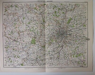 Middlesex Antique Map c1898 Bartholomew Royal Atlas Of England & Wales London