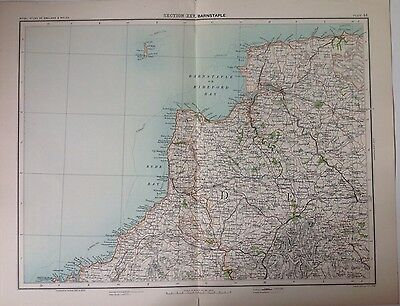 Barnstable Antique Map c1898 Bartholomew Royal Atlas Of England & Wales
