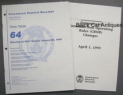 1999 CPR Lakes District Thunder Bay West Time Table 64 & CROR Changes Summary