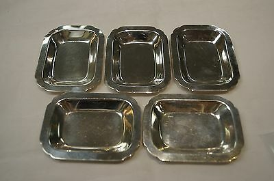 "Sterling Silver Rectangle 3 3/4"" Ash Tray Dish Bowls - Set of 5"