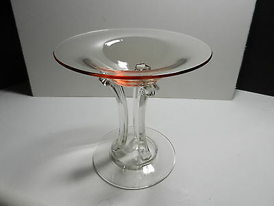 "Fostoria Crystal Compote #2433 George Sakier Design Rose Clear Base 6"" T ca 1931"