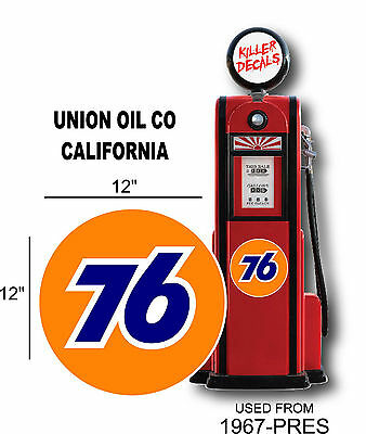 """12"""" 1967- Union 76 Gasoline Decal Oil Can Gas Pump Lubster"""