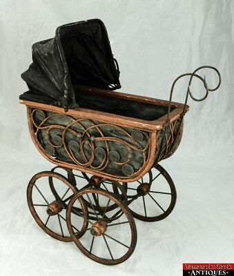 Victorian Baby Doll Carriage Buggy Ornate Wicker Metal Scroll Canvas Fold Canopy
