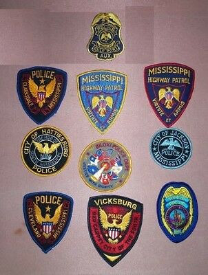 Great collection  of 10 obsolete Mississippi police patches