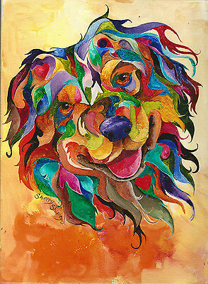 Australian Shepherd 8X10  DOG Colorful Print from Artist Sherry Shipley