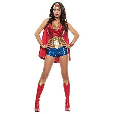 Wonderwoman Costume Adult Female Superhero Cosplay Halloween Fancy Dress