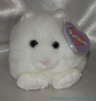 "New Swibco Plush Mini Beanie 5"" PUFFKINS Fluffy Chubby Paws The White Kitty Cat"