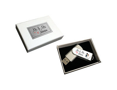 Personalised Mr & Mrs His & Hers Bride & Groom Wedding 8gb USB Drive Gift Boxed