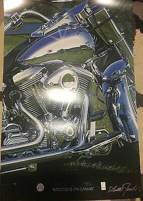 RARE Harley Davidson Authentic Art Poster -Reflections On Canvas By Scott Jacobs