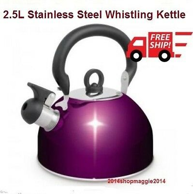 Camp Stove Top Whistling Kettle 2.5L S/Steel Fast Boiling Picnic Camping Kettle