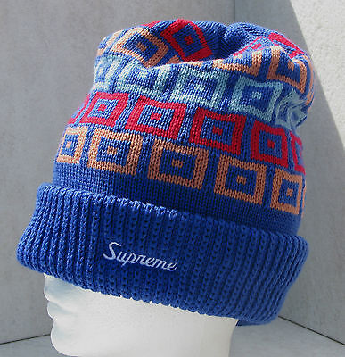 Supreme Brand Royal/red/blue Squares Double Thick Knit Ski Snowboard Beanie Hat