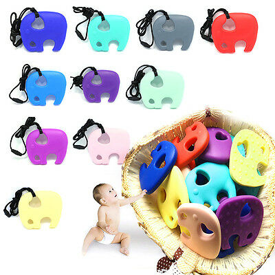 Silicone Elephant Teething Pacifier Chewable Pendant Toy Soother Teether Toy