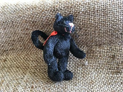 Antique Vintage Handsewn Jointed Halloween Black Cat Figure,Glass Eyes,Tail Curl
