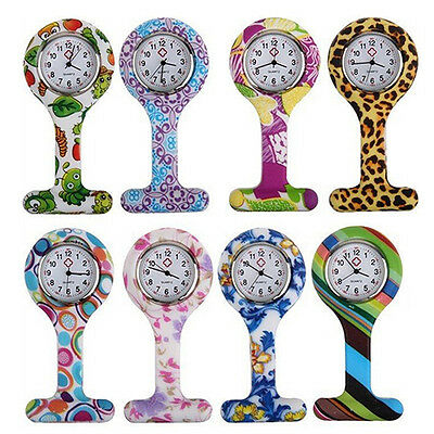 Patterned Silicone Nurses Brooch Tunic Fob Pocket Watch Stainless Dial Enticing