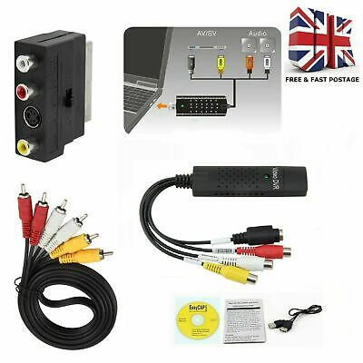 UK Transfer Convert Copy VHS VCR Video Tapes to PC DVD Complete Kit + USB Cable