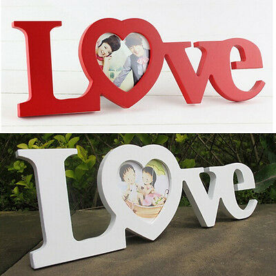 Love Wooden Wedding Photo Picture Frame Rahmen DIY Romantic Home Decor