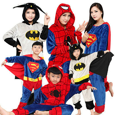 HOT Dress Pajamas Onesies Cosplay BatMan Kigurumi Sleepwear For Kid Adult Gift++