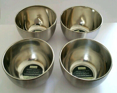 Stainless steel 4 mini bowls (9cm)   New, Fast&Free UK Delivery