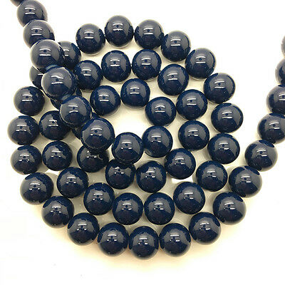 New 8mm 30pcs Navy Blue Glass Pearl Round Spacer Loose Beads Jewelry Making