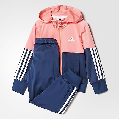 ADIDAS GIRLS - Essentials Hooded Track Suit Ray Pink/Mineral Blue