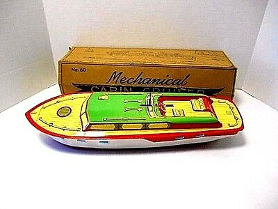 "Vintage J. Chein & Co. 'Mechanical Cabin Cruiser  ""Princess Pat"" Tin Lifto Boat"