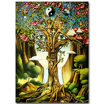 Tree of Life Psychedelic Trippy Abstract Art Silk Poster 12x18inch