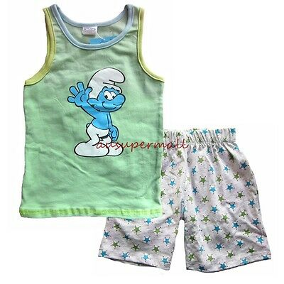 BOYS The Smurfs COTTON SLEEPWEAR SUMMER PAJAMAS SET VEST SHORTS Smurf PJ