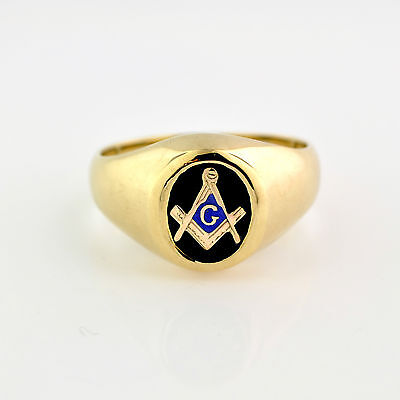 NEW Masonic Ring 10K Solid Gold Master Mason Freemason Masonry Onyx