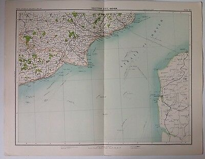 Dover - The Channel Antique Map c1898 Bartholomew Royal Atlas Of England & Wales