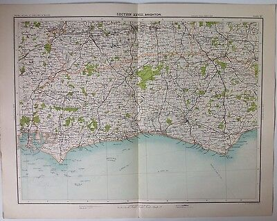 Brighton Antique Map c1898 Bartholomew Royal Atlas Of England & Wales Eastbourne