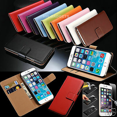 Genuine Real Leather Flip Wallet Case Cover For iPhone 7  +HD Tempered Glass