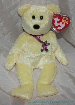 "NEW 2002 TY Beanie Babies Plush Glitter 9"" Golden Yellow MOTHER The BEAR Mom"